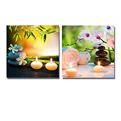 Massage Composition Spa with Candles Orchids Stones in Garden Wall Decor ation x 2 Panels