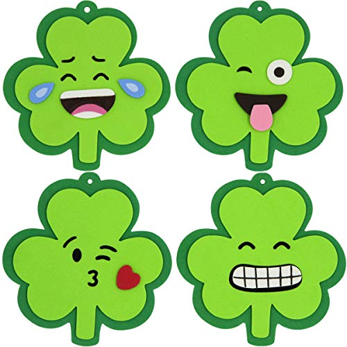 ceiba tree St. Patrick Day Shamrock Emoji Foam Ornament Craft Kit for St. Patrick Day Classroom Party Makes 12