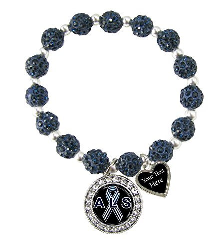 Holly Road ALS Lou Gehrig's Awareness Navy Bling Stretch Bracelet Jewelry Choose Your Text -