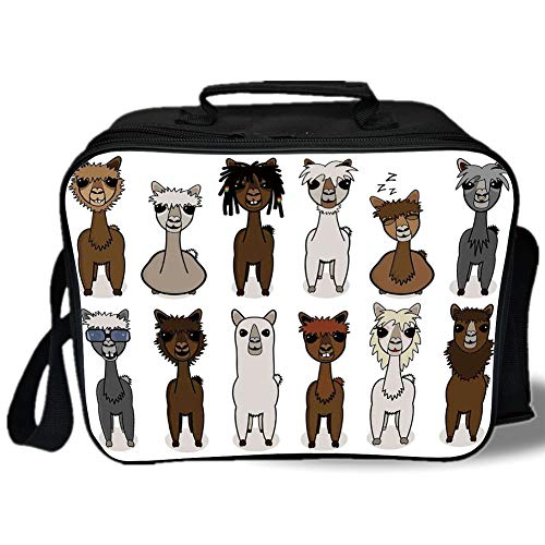 (Cartoon 3D Print Insulated Lunch Bag,Charismatic Cool Fashion Alpacas with Different Hairs Animal Fiction Comic Artwork,for Work/School/Picnic,Brown Grey)