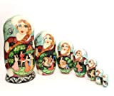 Nesting dolls Russian Hand Carved Hand Painted 7 piece Russian fairy tale stories