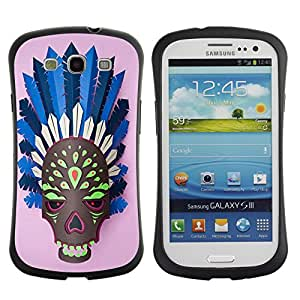 Hybrid Anti-Shock Bumper Case for Samsung Galaxy S3 / Indian Skull Mask