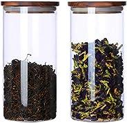 KKC Borosilicate Glass Storage Jars with Wood Lids,Glass Loose Tea Storage Canisters with Airtight Lids,Sealed