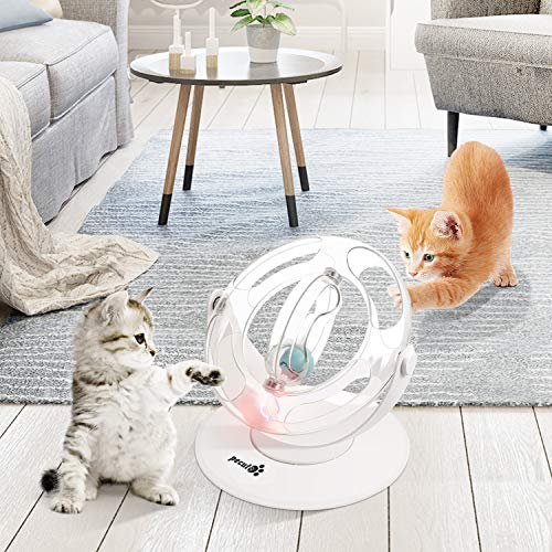 Pecute Cat Toy 360° Space Spinning Ball Toy Roller Cat Toy Mental and Physical Exercise Training Toys Equipped with Bell Dazzle Ball, Cat Mint Ball 3