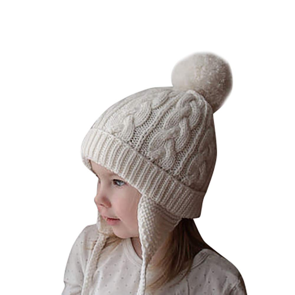 Toddler Baby Girls Boys Knitting Pompon Headgear Warm Ear Guard Kids Hat Cap