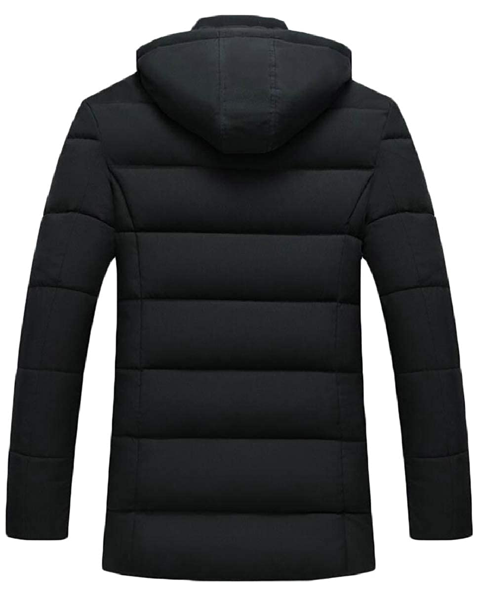 FLCH+YIGE Mens Thick Mid Long Length Winter Quilted Warm Fleece Down Jacket Coat