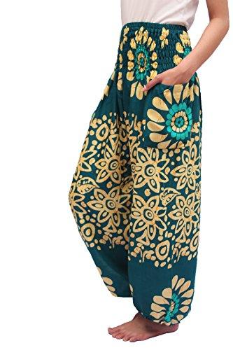 ChiangmaiThaiShop Harem Pant Yoga Bohos Extra Size For Men & Women Elastic Waist smocks Rayon (G-Green, Medium) ()