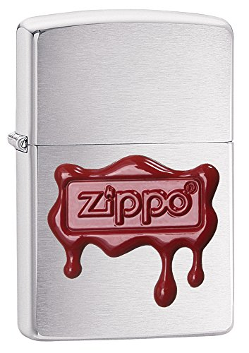 Zippo Red Wax Seal Brushed Chrome - Matte Zippo Red