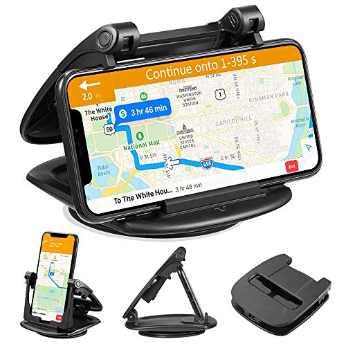 Cell Phone Holder for Car Dashboard, Car Phone Mount Adjustable Cradle, 360° Rotate Premium 3M Sticky Gel for iPhone Xr Xs Max X 6s 7 8 Plus, Samsung Galaxy Note ()