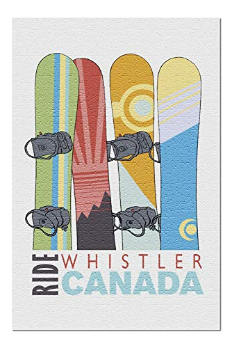 - Whistler, Canada - Snowboards in Snow - Contour 97508 (20x30 Premium 1000 Piece Jigsaw Puzzle, Made in USA!)