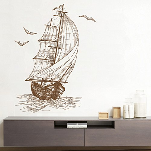 Retro Sketch Sailboat Sea Seagull Home Wall Stickers Decor Bedroom Living Room Couch TV Background Funny Sticker Removable Vinyl Art Mural Decals for Girls Boys Kids (sailing (Sailboat Wall Stickers)