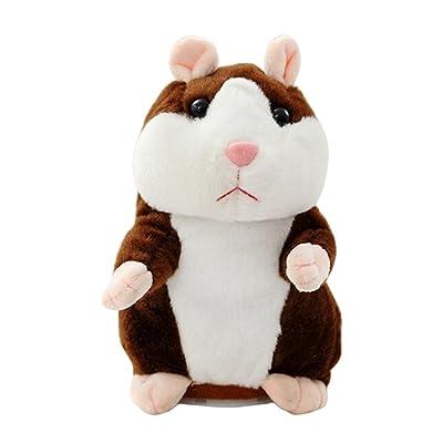Per Jouet en Peluche Hamster Enregistreur Parlant en Peluche Hamster qui Parle Sound Recording and Talking Hamster (Marron)