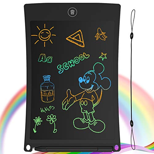 GUYUCOM 8.5-Inch LCD Writing Tablet Colorful Screen Doodle Board Electronic Digital Drawing Pad with Lock Button for Kids Adults (Black)