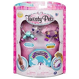 Twisty Petz - 3-Pack - Glitzy Panda, Fluffles Bunny and Surprise Collectible Bracelet Set for Kids