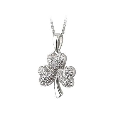 Amazon shamrock necklace 14k white gold diamond irish made shamrock necklace 14k white gold diamond irish made aloadofball Images