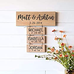 Family Names Wood Sign | Anniversary Gifts | Wedding Gifts | Personalized for you | Family Established Gift for Women