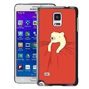 A-type Arte & diseño plástico duro Fundas Cover Cubre Hard Case Cover para Samsung Galaxy Note 4 (Polar Bear Kids Sweet Cute Red Night)