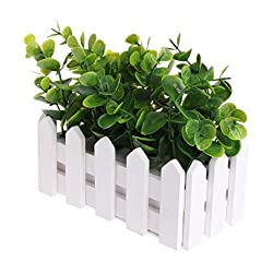 Misright Green Artificial Small Leaves Plant Eucalyptus Grass Pot Home Party Decoration