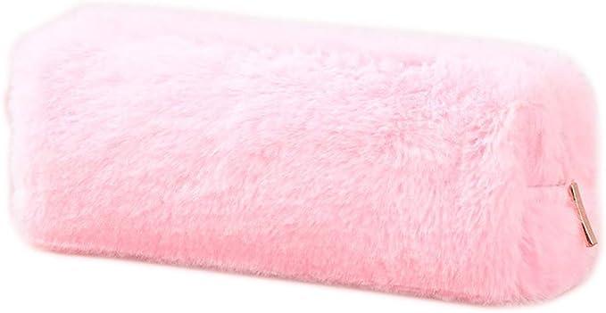Youliy estuches de lápices para niñas, color sólido, estuche de lápices de felpa para escuela, estuche de papelería para niñas, suministros escolares, herramientas rosa