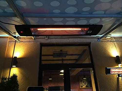 Dr Black Infrared Heater 1500W Carbon Infrared Heater Indoor Outdoor Patio Garage Wall or Ceiling Mount with Remote