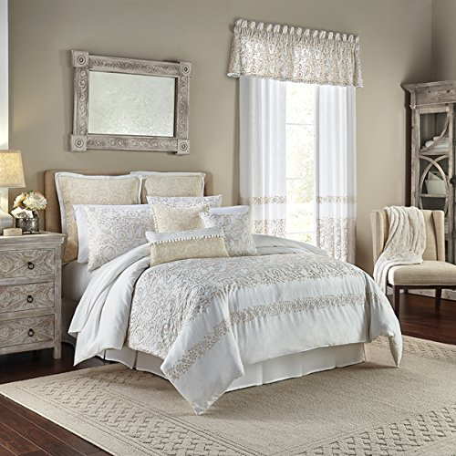CROSCILL CELA Queen Comforter Set, Ivory, 4 Piece