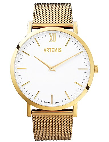 ARTEMIS Unisex Watch Gold Face With Gold Mesh Bracelet Men's Women's Wrist Wear by Artemis Wrist Wear