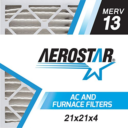 Aerostar 21x21x4 MERV 13, Pleated Air Filter, 21 x 21 x 4, Box of 6, Made in the USA