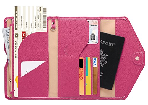 (Zoppen Mulit-purpose Rfid Blocking Travel Passport Wallet (Ver.4) Tri-fold Document Organizer Holder, 7 Rose Red)