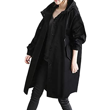 Excellent Value Besde Womens Autumn and Winter Fashion Loose Hooded Wild Elegant Solid Windbreaker Comfortable Button