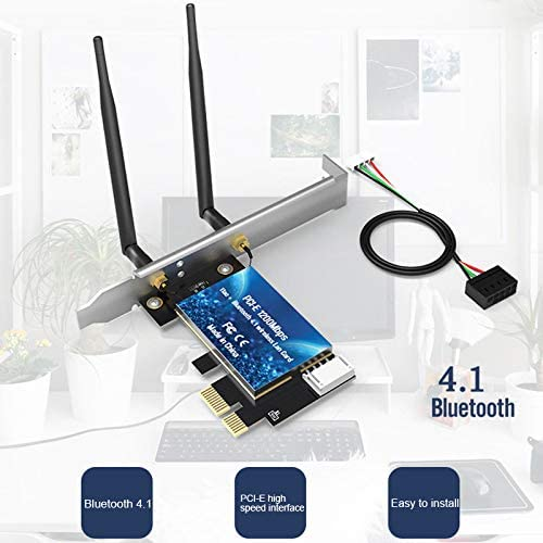 lzndeal WiFi Wireless Card,WLAN Card,Desktop PC,EDUP 1200Mbps PCI-E WiFi Wireless Card Adapter Bluetooth 4.1 for Desktop PC
