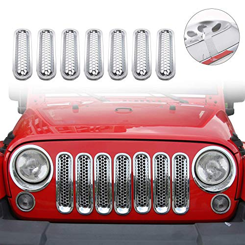 JeCar Clip-in Front Grille Mesh Inserts for Jeep Wrangler JK & Unlimited 2007-2015 (Chrome)