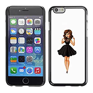 TopCaseStore / la caja del caucho duro de la cubierta de protección de la piel - Lady Sweet Cute Woman - Apple iPhone 6
