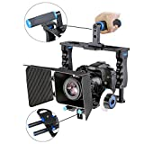 Aluminum Alloy Camera Movie Video Cage Kit Film Making System (1) Video Cage+(1) Top Handle Grip+(2) 15mm Rod+(1) Matte Box+(1) Follow Focus Compatible with DSLR Camera Canon Nikon Sony