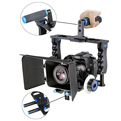 Aluminum Alloy Camera Movie Video Cage Kit Film Making System (1) Video Cage+(1) Top Handle Grip+(2) 15mm Rod+(1) Matte Box+(1) Follow Focus Compatible with DSLR Camera Canon Nikon Sony  (Best Cage For 5d Mark Iii)