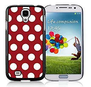 Polka Dot Dark red and White Samsung Galaxy S4 i9500 Case Black Cover