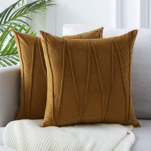 Top Finel Decorative Hand-Made Throw Pillow Covers 16 x 16 Inch Soft Particles Striped Velvet Solid Cushion Covers for Couch Bedroom Car 40 x 40 cm, Pack of 2, Brown