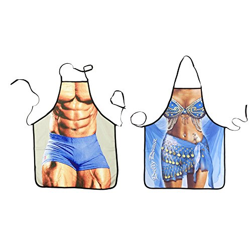 HappySUN Sexy Apron Funny Comics Cute Aprons BBQ Kitchen Cooking Adult Apron for Men and Women,Including Bottle Opener Ring (2, Muscle A+ Belly Dance) by HappySUN
