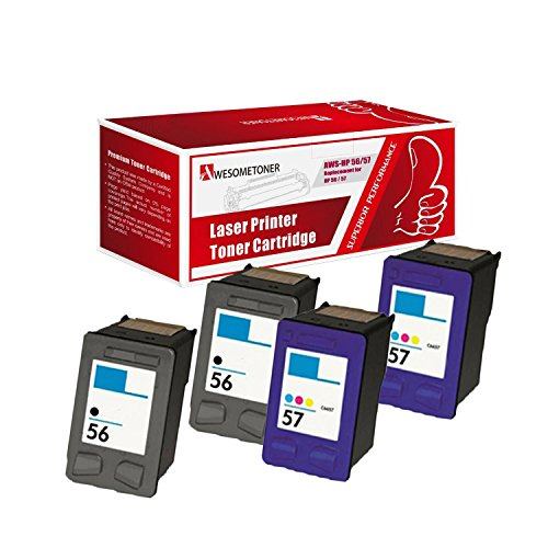 AwesomeToner 4 Pack Compatible Ink Cartridge for HP C6656 (HP 56) x2 + 2X HP C6657 (HP 57) Deskjet 3550, 5550, 5652, 9650, 9680 Officejet 4110, 5510, 6100, 6110 High Yield Black 450 Color 391 Pages (Hp 56 57 Ink Cartridges Best Price)