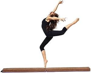 Sundoco 8FT Folding Balance Beam,Suede Gymnastics Folding Balance Beam Home Gym Training Gift