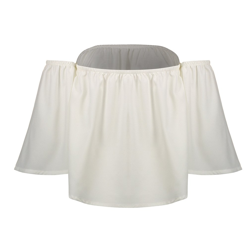 4a0e31a0390 Nuofengkudu Mujer Niñas Camisetas Gasa Manga Corta Tops Camisas Tirantes  Anchas Off Shoulder Volantes Verano Elegantes Blusas Shirts Playa S M L XL:  ...