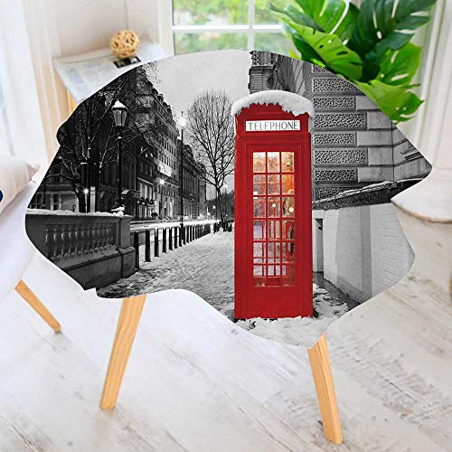 PRUNUS Round Tablecloths-London red Telephone Booth at Dawn Waterproof Oilproof Hotproof Table Cloth Table Multiple Styles 67