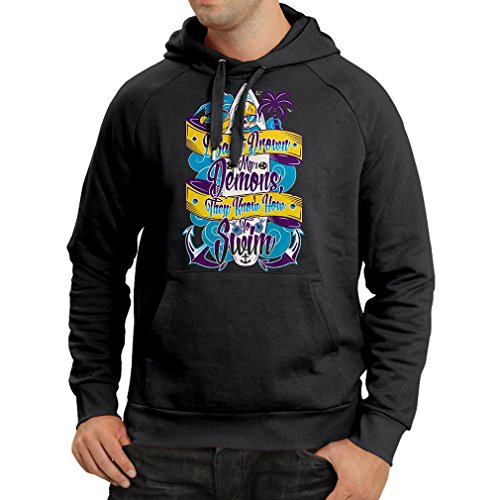 Hoodie I Can't Drown My Demons They Know How to Swim - Surfer Clothing, Surfing Quotes (XXX-Large Black Multi Color) (Surfboard Stand Couple)