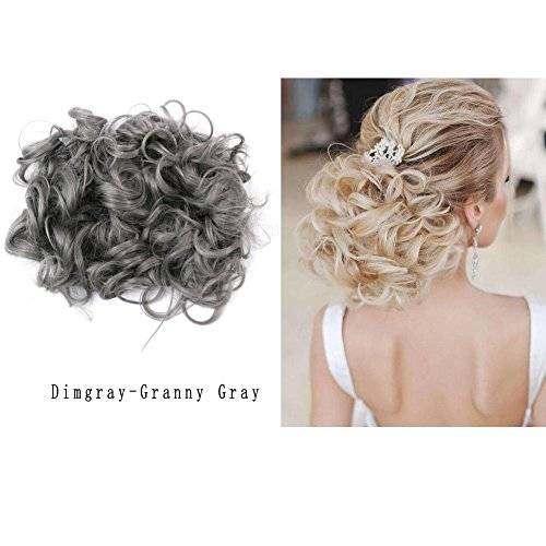 LHFLIVE Short Messy Curly Granny Gray Bun Hair Extension For