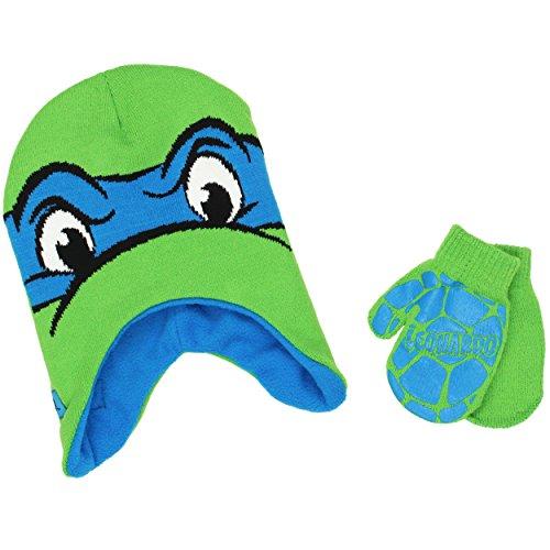 TMNT Teenage Mutant Ninja Turtles Toddler Beanie Hat and Mittens Set (One Size, Leonardo Blue)