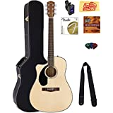 Fender CD-60SCE Dreadnought Acoustic-Electric Guitar - Left Handed, Natural Bundle with Hard Case, Tuner, Strap, Strings, Picks, Instructional DVD, Polishing Cloth