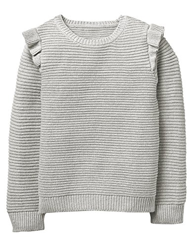 Crazy 8 Little Girls' Sparkle Ruffle Sweater, Heather Grey, XS (Sweater Metallic Sparkle)