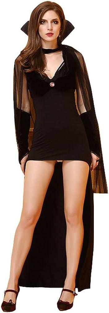 YueLian Mujeres Halloween Bruja Pitonisa Cosplay V-cuello Capa ...