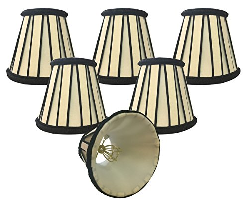 Royal Designs English Pleated Chandelier Lamp Shade – Set of 6 – 3 x 5 x 4.5 – Eggshell and Black Review