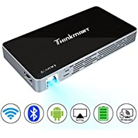 Mini Projector, Thinkmart Portable Video Projector for iPhone Android Support 1080P HDMI WiFi Bluetooth USB TF Card, A Mobile Multimedia Home Theater