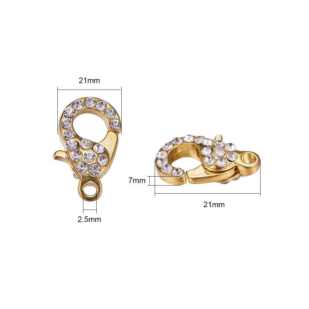 NBEADS gancetto a moschettone in Lega con Strass per Creare Gioielli 21 x 12,5 x 7 mm Colori Misti Confezione da 10 Pezzi Foro: 2,5 mm
